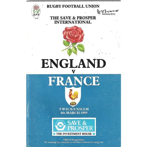 1989 England v France Five Nations Rugby Union Programme