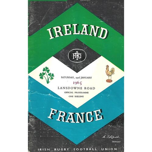 1965 Ireland v France Five Nations Rugby Union Programme