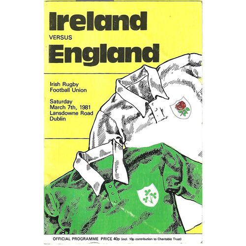1981 Ireland v England Five Nations Rugby Union Programme