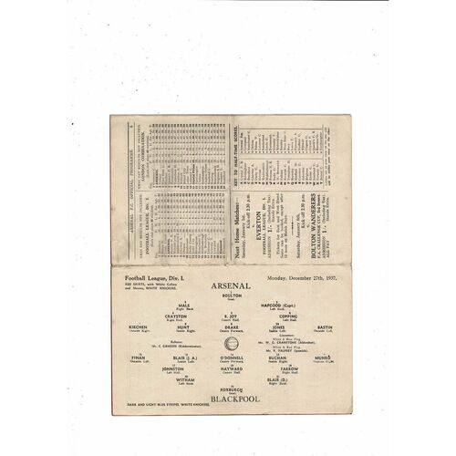 1937/38 Arsenal v Blackpool Football Programme