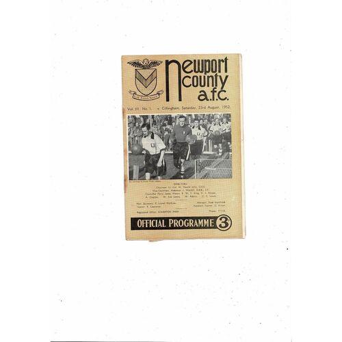 1952/53 Newport County v Gillingham Football Programme