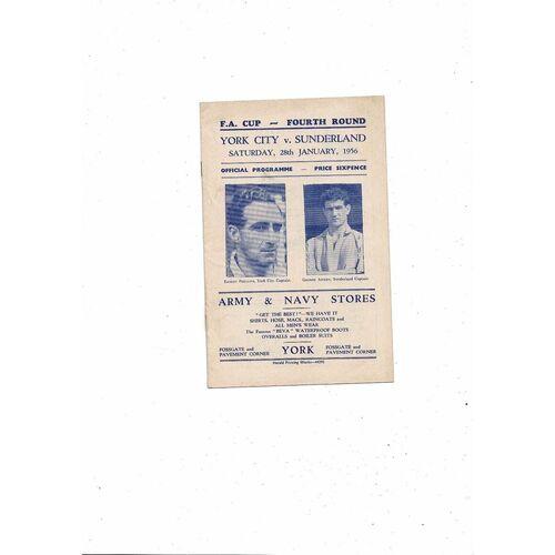 1955/56 York City v Sunderland FA Cup Football Programme