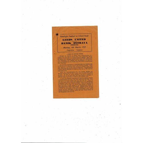 Leeds United v Banik Ostrava Friendly Football Programme 1956/57