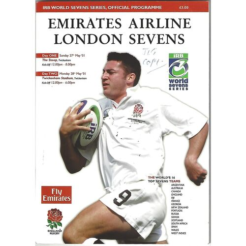 2001 London Sevens IRB World Sevens Series Rugby Union Programme & Match Ticket
