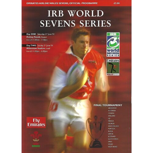 2001 Wales Sevens IRB World Sevens Series Rugby Union Programme & Match Ticket
