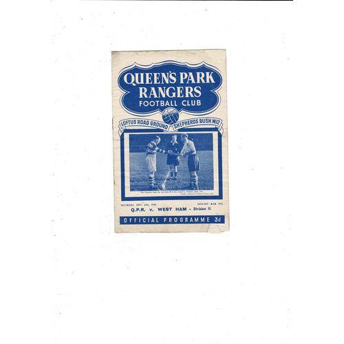 1949/50 Queens Park Rangers v West Ham United Football Programme