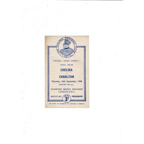 1948/49 Chelsea v Charlton Athletic Football Programme