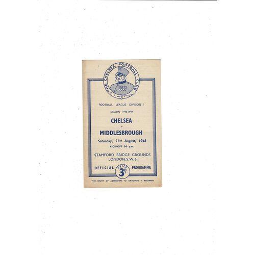 1948/49 Chelsea v Middlesbrough Football Programme