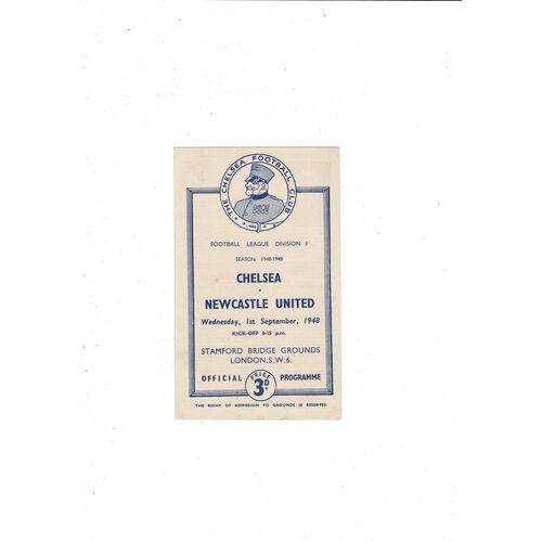 1948/49 Chelsea v Newcastle United Football Programme