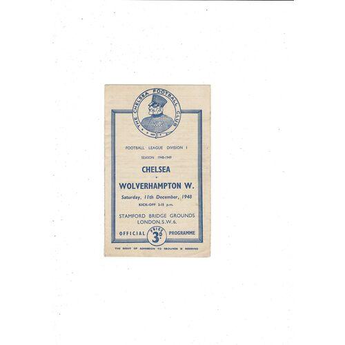1948/49 Chelsea v Wolves Football Programme