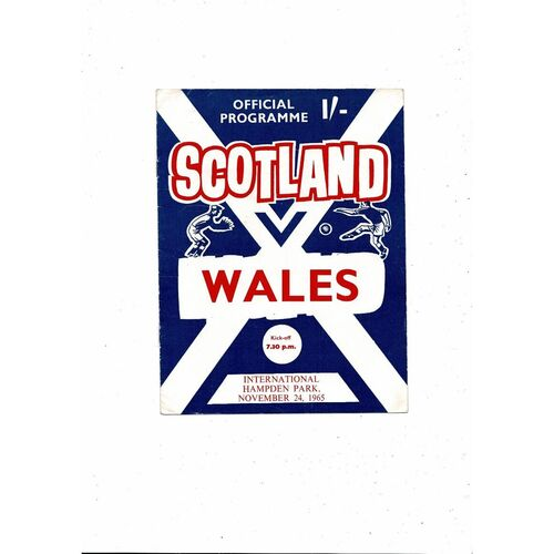 1965 Scotland v Wales Football Programme