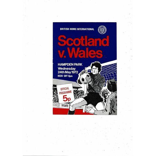 1972 Scotland v Wales Football Programme