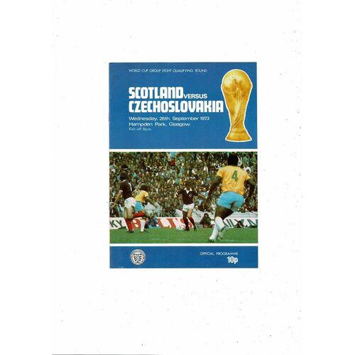 1973 Scotland v Czechoslovakia Football Programme