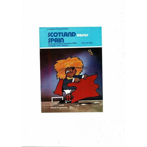 1974 Scotland v Spain Football Programme