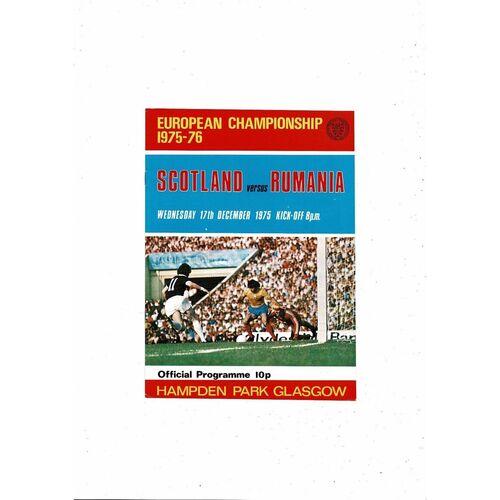 1975 Scotland v Romania Football Programme