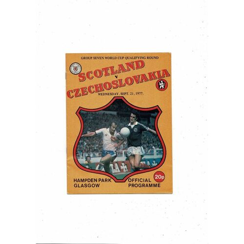 1977 Scotland v Czechoslovakia Football Programme