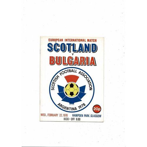 1978 Scotland v Bulgaria Football Programme