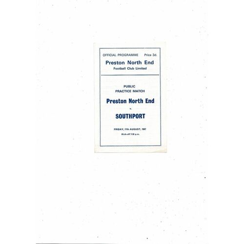 Preston v Southport Friendly Football Programme 1967/68
