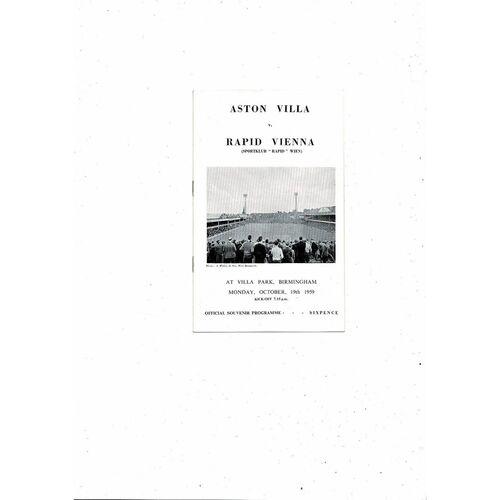 Aston Villa v Rapid Vienna Friendly Football Programme 1959/60