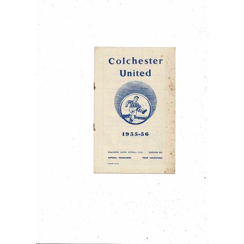 1955/56 Colchester United v Shrewsbury Town Football Programme