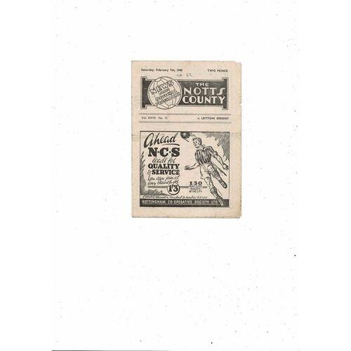 1947/48 Notts County v Leyton Orient Football Programme