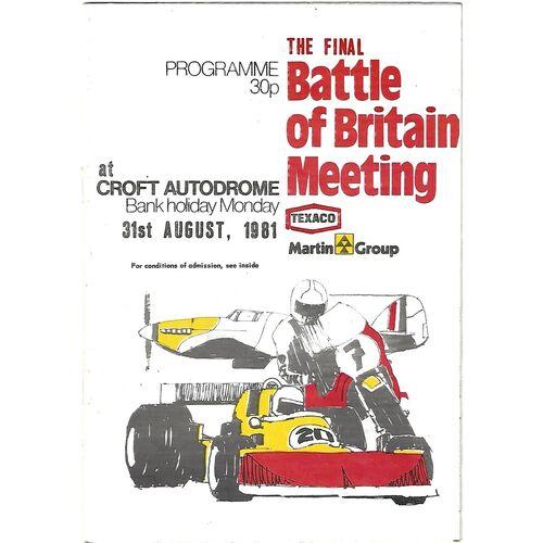 1981 Croft The Final Battle of Britain Race Meeting (31/08/1981) Motor Racing/Motor Cycle Racing Programme