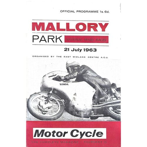 1963 Mallory Park National Road Race Meeting (21/07/1963) Motor Cycle Racing Programme
