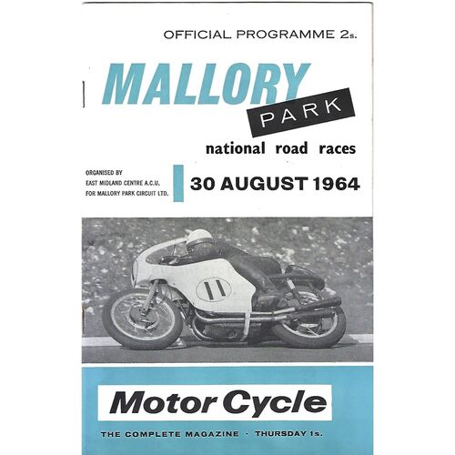 1964 Mallory Park National Road Race Meeting (30/08/1964) Motor Cycle Racing Programme