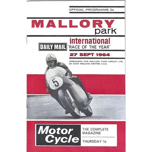 1964 Mallory Park International Race of the Year Race Meeting (27/09/1964) Motor Cycle Racing Programme