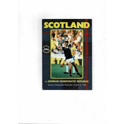 1982 Scotland v GDR Football Programme