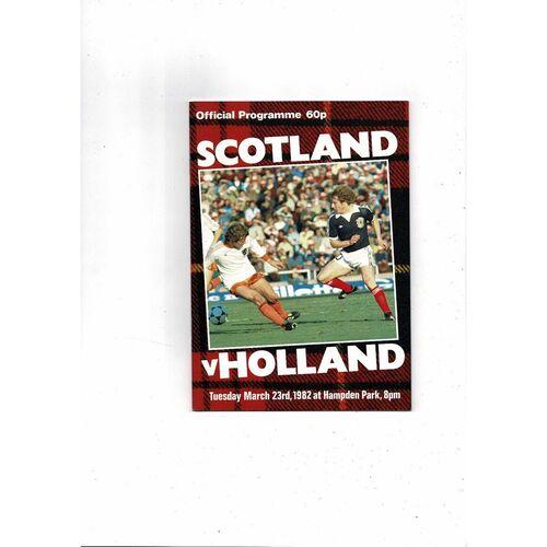 1982 Scotland v Holland Football Programme