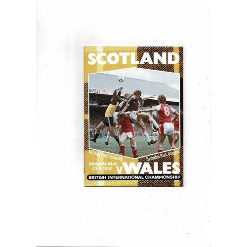 1982 Scotland v Wales Football Programme