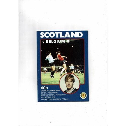 1983 Scotland v Belgium Football Programme