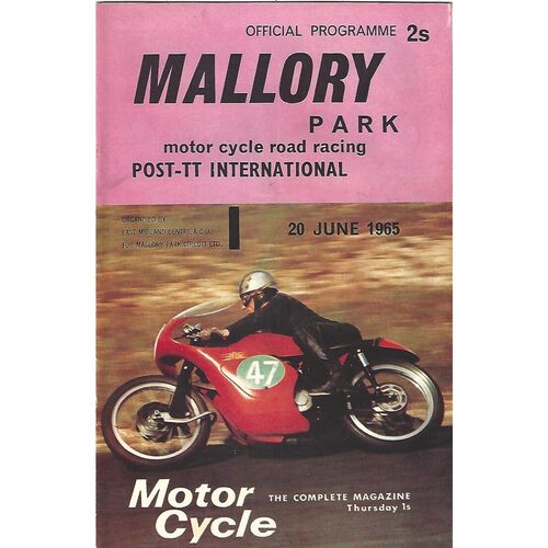 1965 Mallory Park Post T.T International Motor Cycle Race Meeting (20/06/1965) Motor Cycle Racing Programme