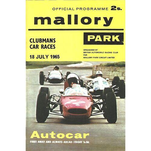 1965 Mallory Park Clubman's Car Races Meeting (18/07/1965) Motor Racing Programme