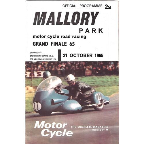 1965 Mallory Park Grand Finale 65 Motor Cycle Road Race Meeting (31/10/1965) Motor Cycle Racing Programme