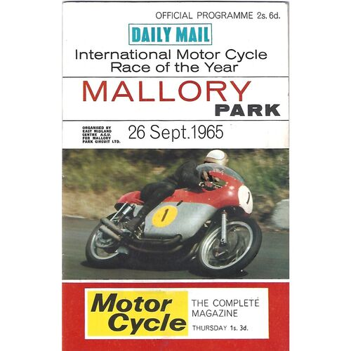 1965 Mallory Park International Motor Cycle Race of the Year Race Meeting (26/09/1965) Motor Cycle Racing Programme