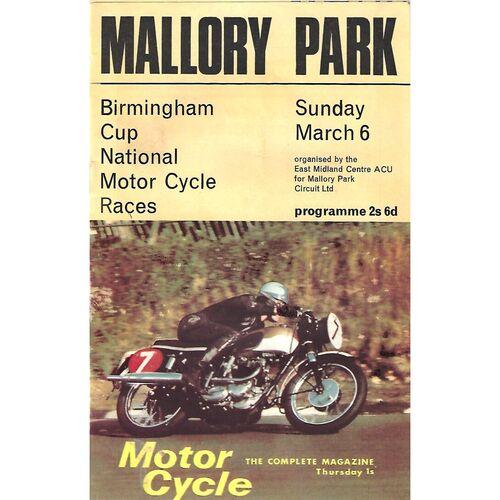 1966 Mallory Park Birmingham Cup National Motor Cycle Race Meeting (06/03/1966) Motor Cycle Racing Programme