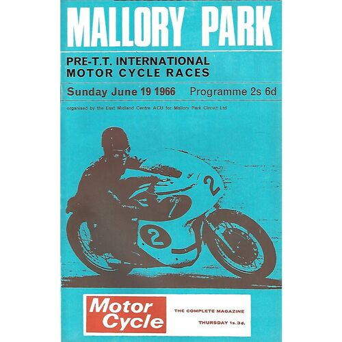 1966 Mallory Park Pre T.T International Motor Cycle Race Meeting (19/06/1966) Motor Cycle Racing Programme