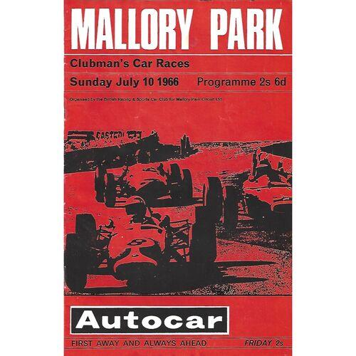 1966 Mallory Park Clubman's Car Races Meeting (10/07/1966) Motor Racing Programme