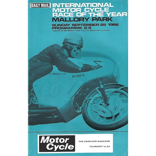 1966 Mallory Park International Motor Cycle Race of the Year Race Meeting (25/09/1966) Motor Cycle Racing Programme