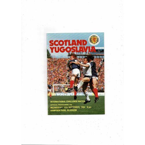 1984 Scotland v Yugoslavia Football Programme