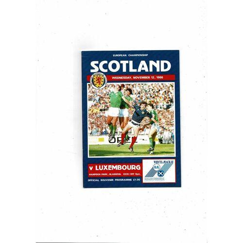 1986 Scotland v Luxembourg Football Programme