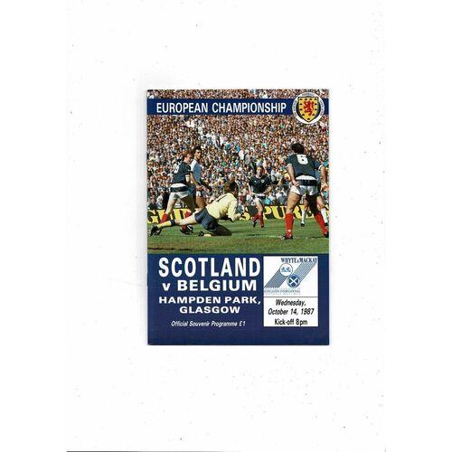 1987 Scotland v Belgium Football Programme
