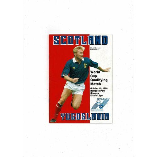 1988 Scotland v Yugoslavia Football Programme
