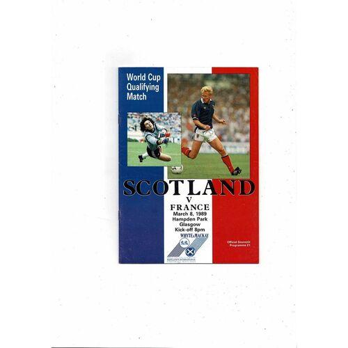 1989 Scotland v France Football Programme