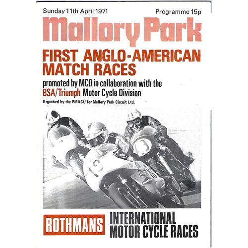 Mallory Park Motor Racing/Motor Cycle Racing Programmes