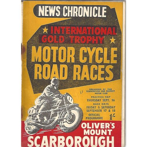 1954 Oliver's Mount, Scarborough International Gold Trophy Road Race Motor Cycle Race Meeting (16-18/09/1954) Motor Cycle Racing Programme