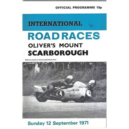 1971 Oliver's Mount, Scarborough International Road Race Motor Cycle Race Meeting (12/09/1971) Motor Cycle Racing Programme