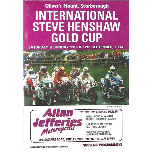 1993 Oliver's Mount, Scarborough International Steve Henshaw Gold Cup Motor Cycle Race Meeting (11-12/09/1993) Motor Cycle Racing Programme